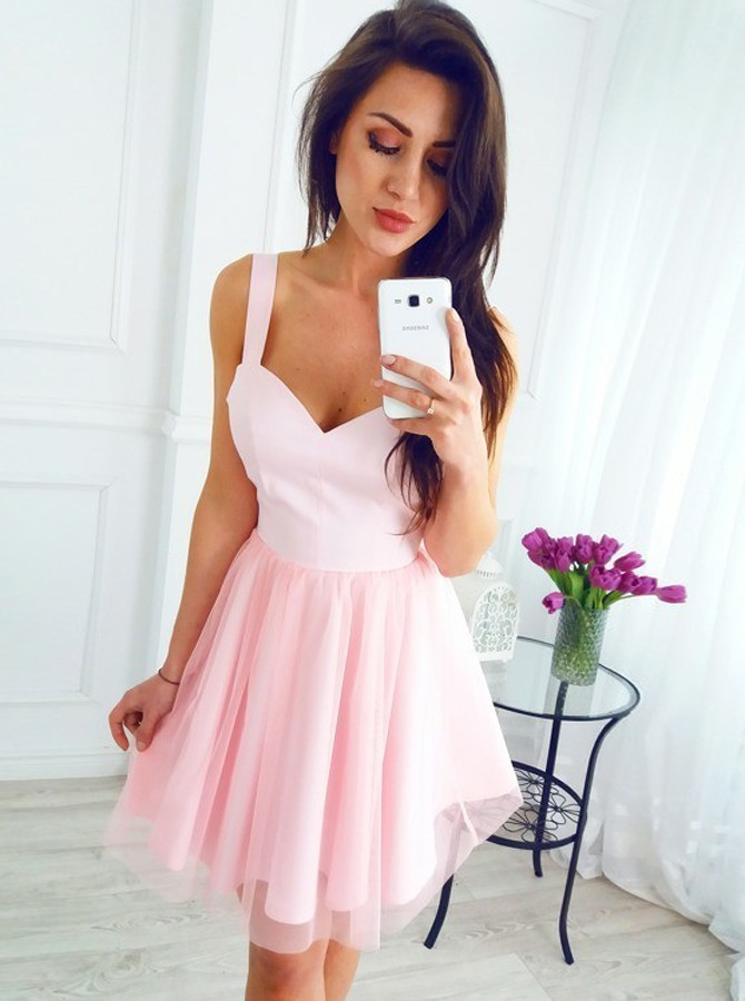 A-Line Scoop Sleeveless Short Pink Tulle Homecoming Dress, Short Red Homecoming
