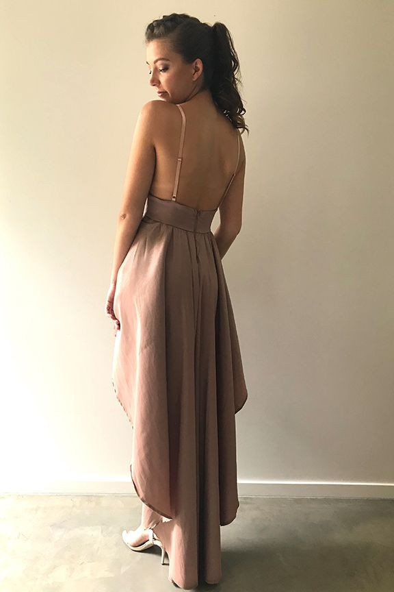 Sexy Champagne V-Neck High Low Party Dress,Short Prom Dress H-034