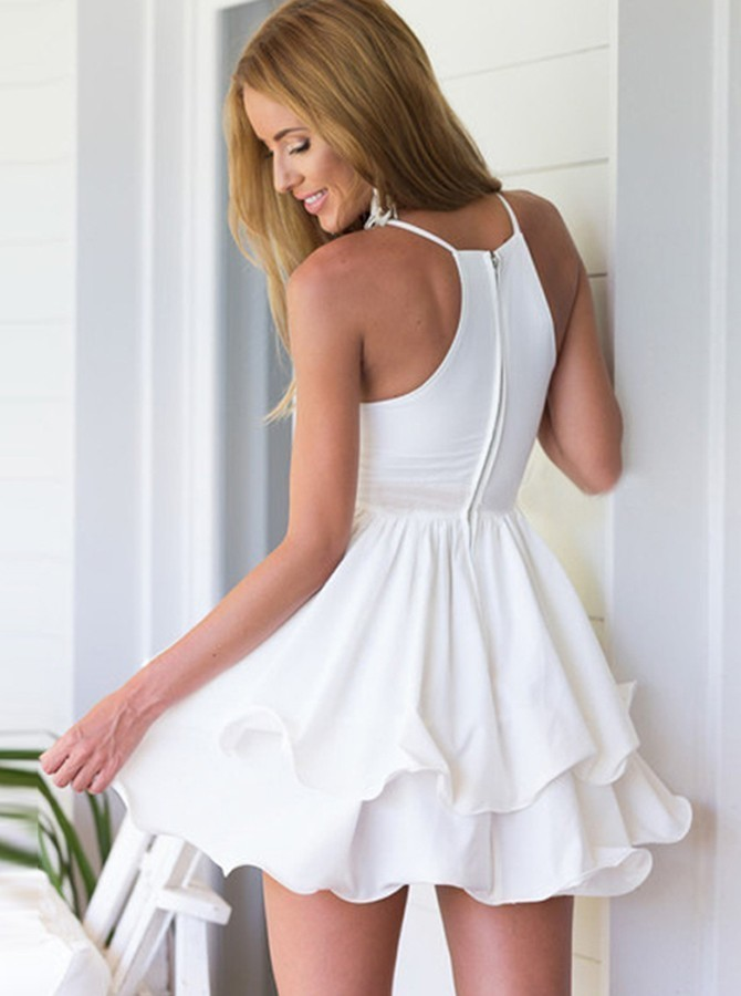 A-Line Spaghetti Straps White Tiered Chiffon Homecoming Dress H-037