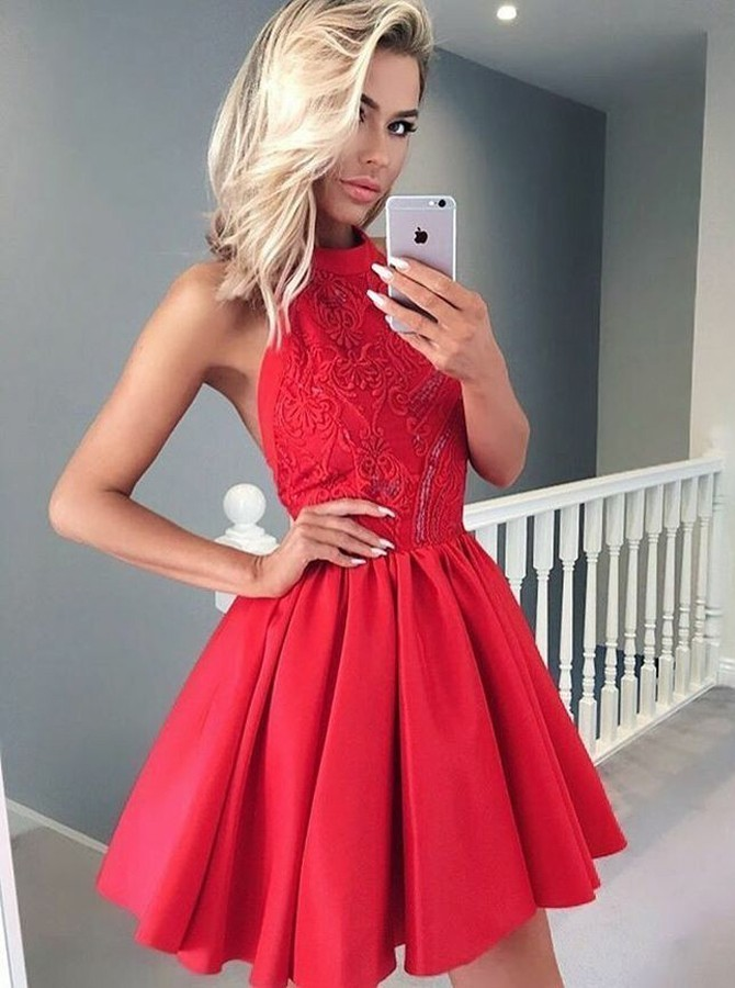 A-Line Halter Sleeveless Short Red Satin Homecoming Dress with Lace Beading