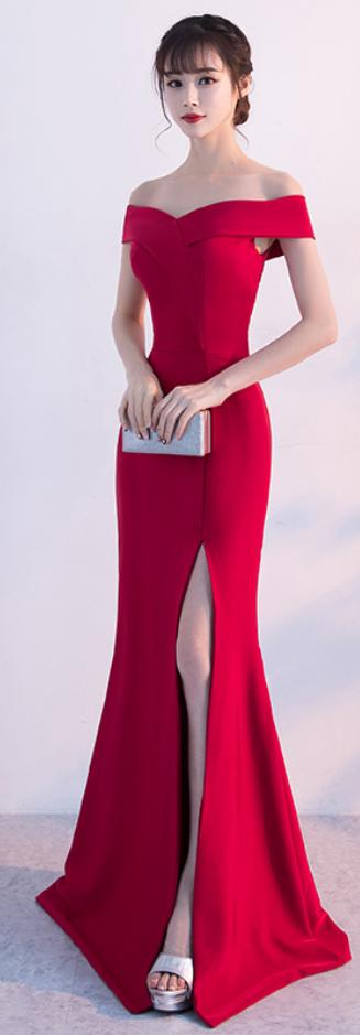 Off the Shoulder Red Split Slit Sheath Mermaid Long Evening Dress, Sexy Prom