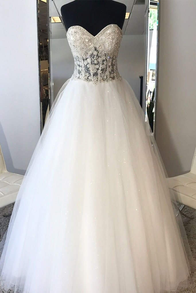 White Sweetheart neck Tulle Beads Long Wedding Dress, Bridal Gown