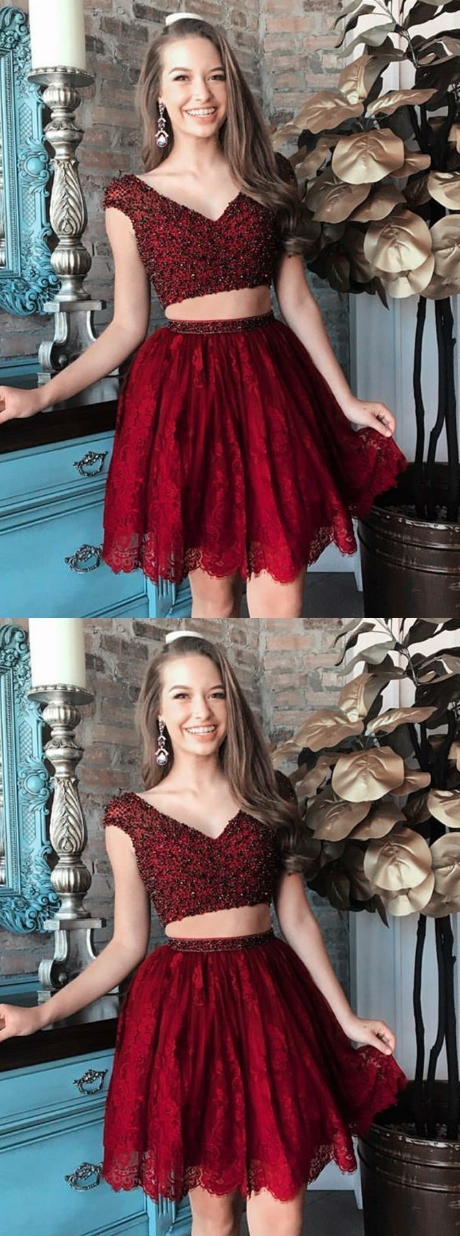 Two Piece V-Neck Cap Sleeves Short Burgundy Lace Homecoming Dress with Beading