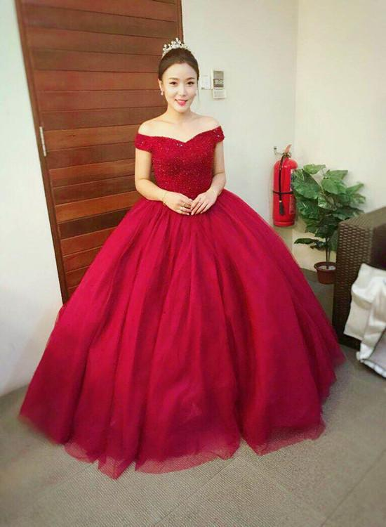 Off Shoulder Wine Red Tulle Quinceanera Dress, Handmade Formal Gown, Elegant