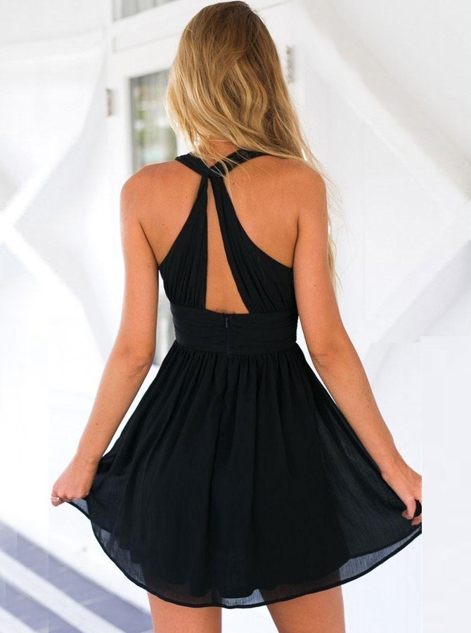 Deep V-Neck Keyhole Back Chiffon Little Black Dress H-346