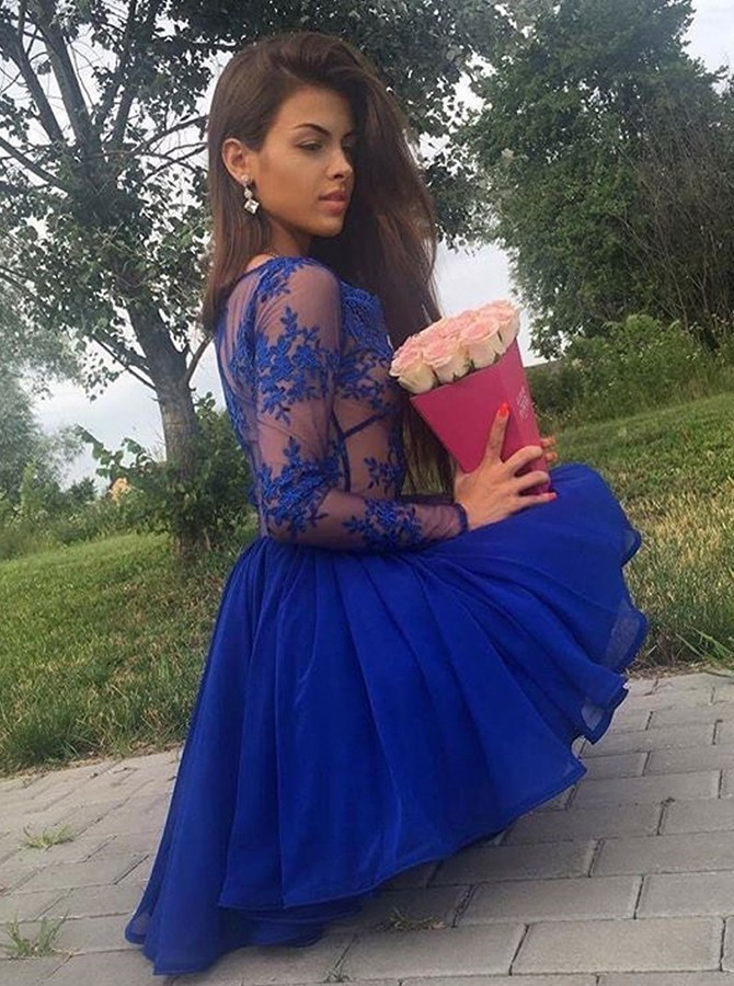 Scoop Royal Blue Chiffon Homecoming Dress with Lace Appliques H-361