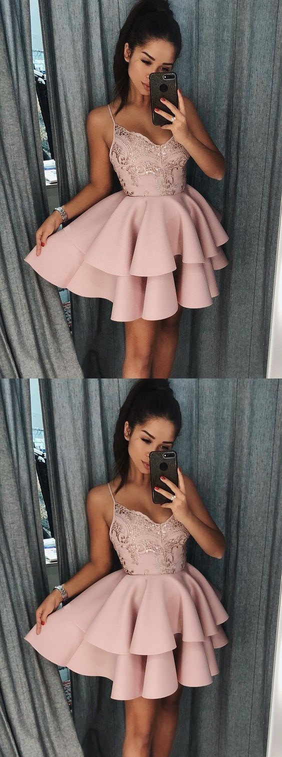 Spaghetti Straps Tiered Pink Satin Homecoming Dress with Sequins H-367