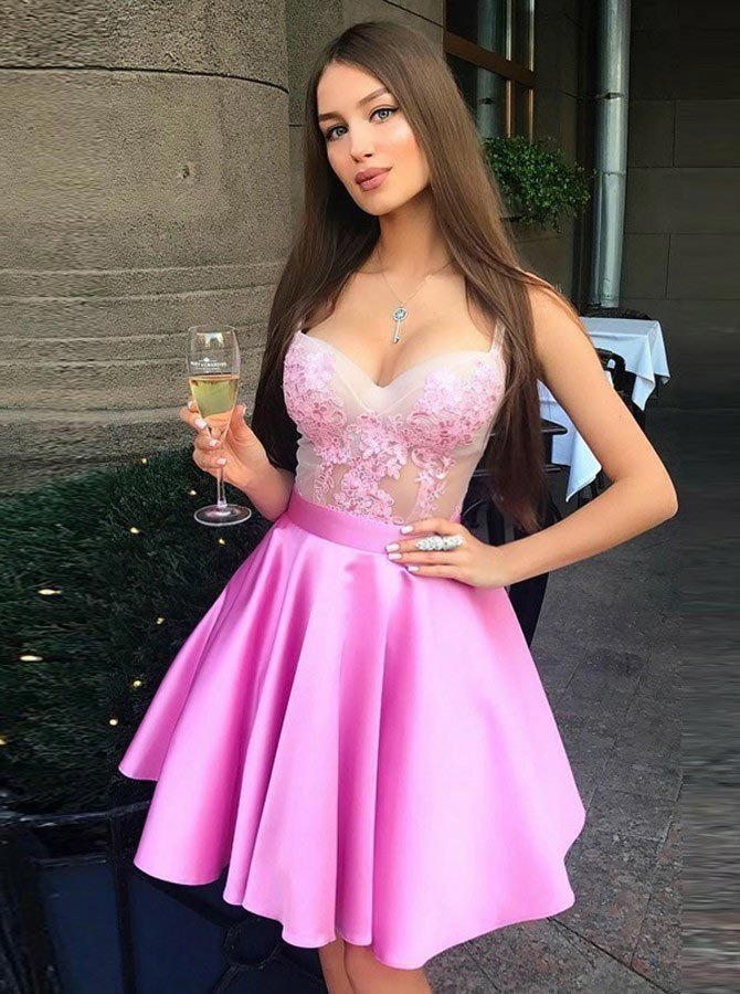 Pink Satin Appliques Prom Dresses,Short Homecoming Dresses,Sexy Party Graduation