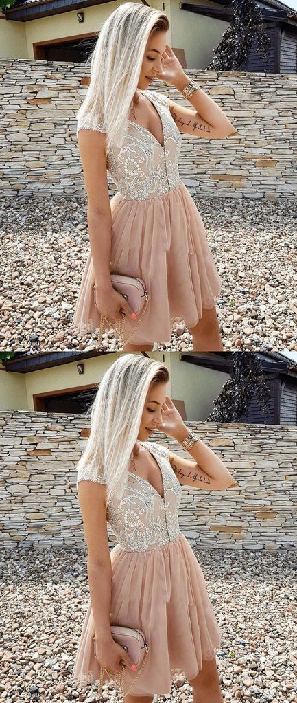 Champagne v neck tulle short prom dress, tulle homecoming dress H-375