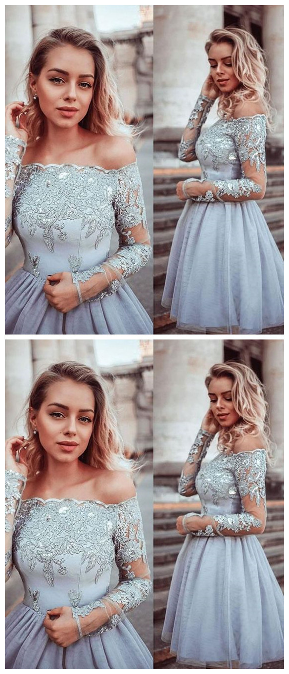 Gray lace tulle short prom dress, gray lace tulle homecoming dress H-376
