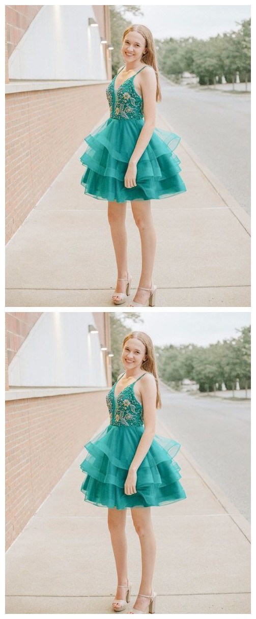Green v neck tulle beads sequin short prom dress, homecoming dress H-377