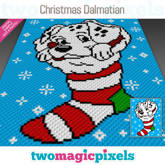 Christmas Dalmatian crochet graph (C2C, Mini C2C, SC, HDC, DC, TSS), cross  stitch