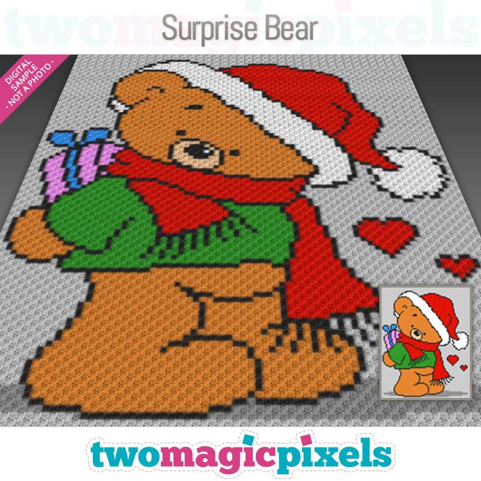 Surprise Bear crochet graph (C2C, Mini C2C, SC, HDC, DC, TSS), cross stitch;