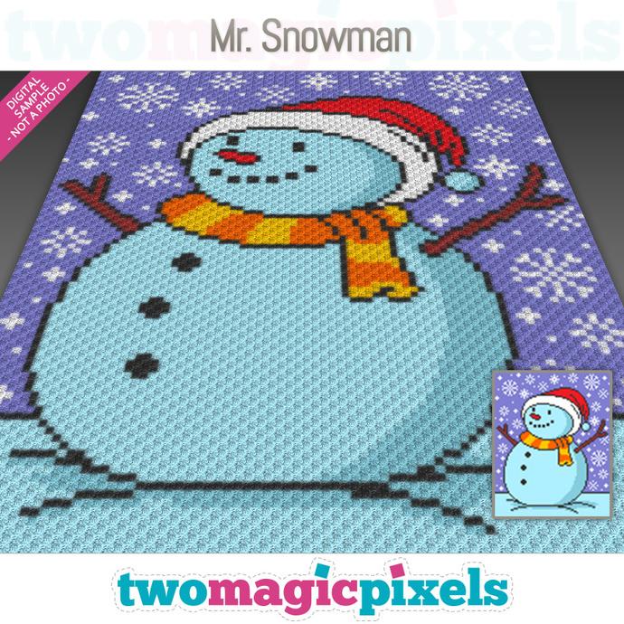 Mr. Snowman crochet graph (C2C, Mini C2C, SC, HDC, DC, TSS), cross stitch;