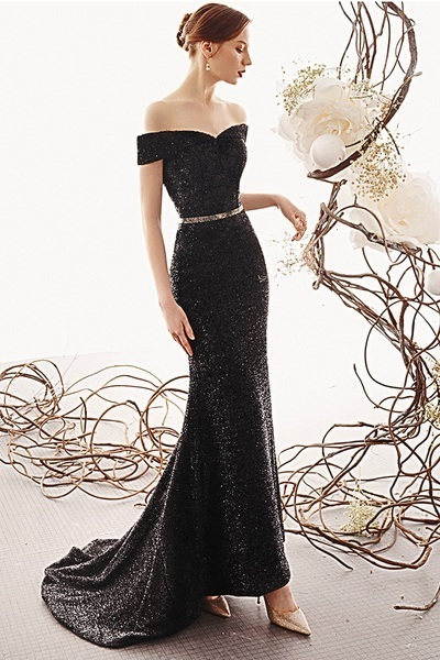 Black Bling Bling Off Shoulder Sweep Train Evening Dress With Sleeves P2132