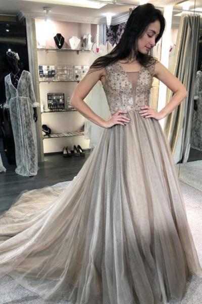 Gray Tulle V Neck Crystal Beaded Long A Line Senior Prom Dress P2133