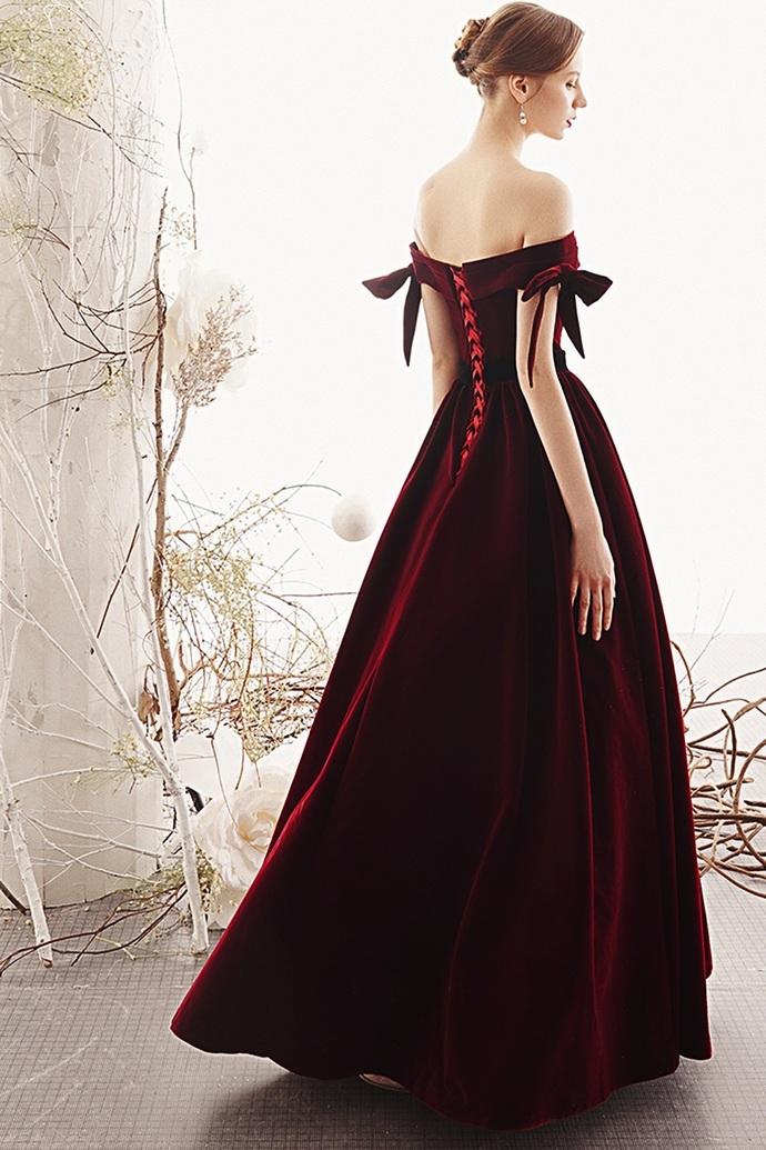 Real Picture Burgundy Off Shoulder Long V Neck A Line Prom Dress, Evening Dress
