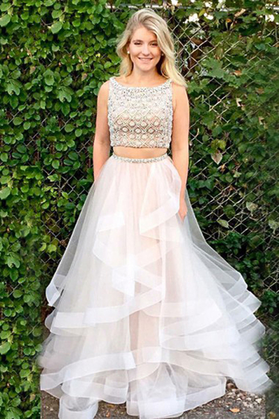 Ivory Tulle Two Piece Floor Length Sleeveless Prom Dress with Beading P2137