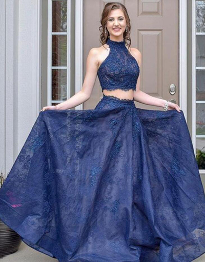 Deep Blue Lace O Neck Two Piece Long Senior Prom Dress, Evening Dress P2138