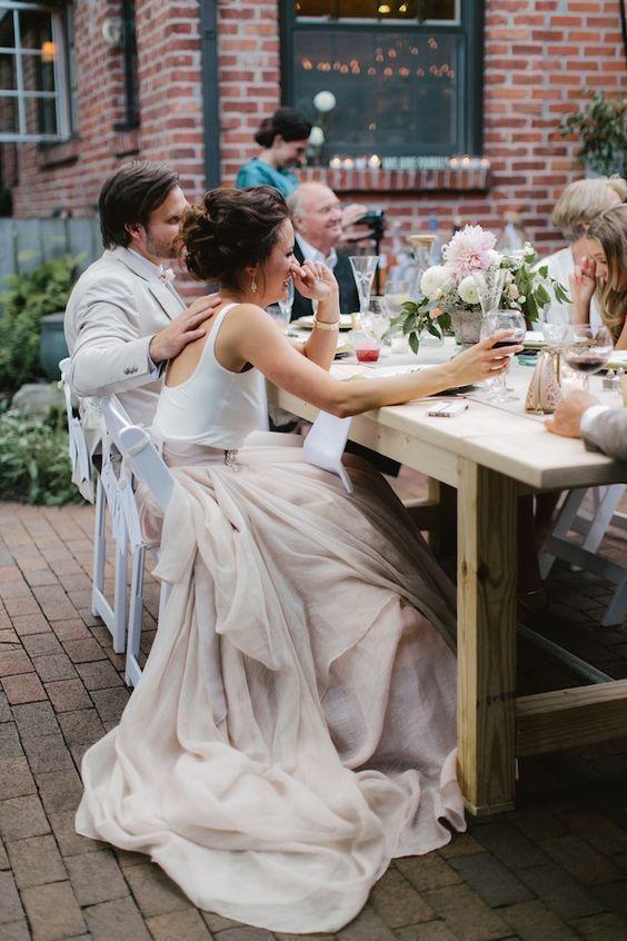 Wedding Dress,Blush Pink Modern Wedding Dress,Tulle Wedding Dresses