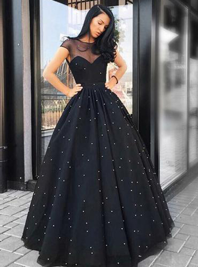 Black Tulle Cap Sleeve Floor Length Lace Up Evening Dress, Prom Dress With Pearl