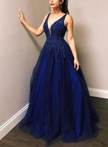 Deep Blue Tulle V Neck Beaded Sequined Long Evening Dress, Formal Dress  P2142