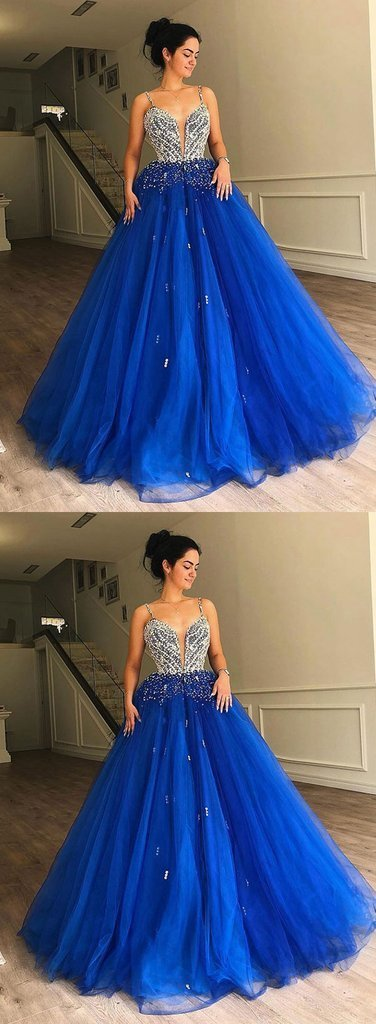 Royal Blue Tulle Sequined Spaghetti Straps Ball Gown, Pageant Prom Dress  P2143