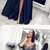 Stylish Deep Blue Satin Mid Sleeve Slit Long Lace Prom Dress With Sash P2145