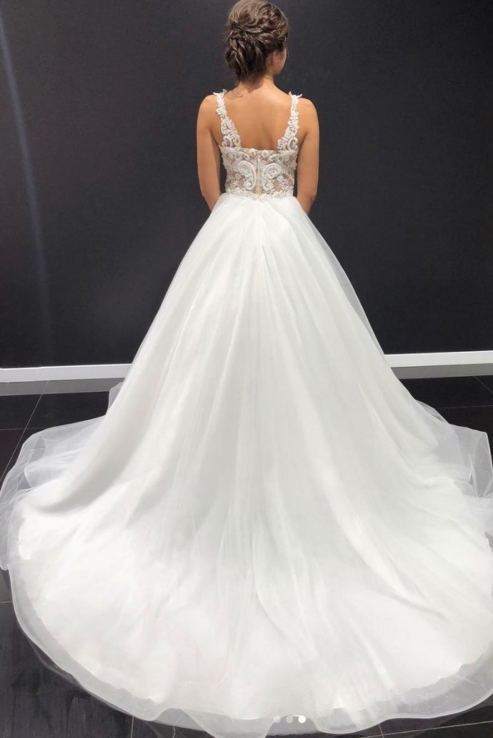 White Lace A Line Full Length Tulle Wedding Dress, Formal Prom Dress W2146