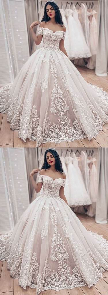 Ivory Lace Off Shoulder Sweep Train Wedding Dress, Formal Dress With Sleeve