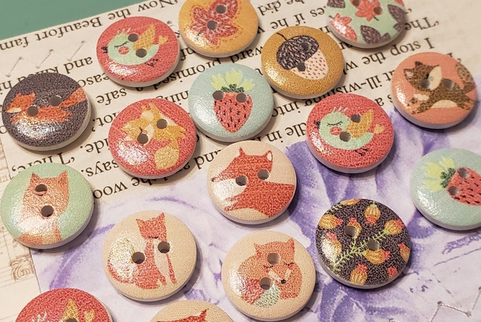Woodland creatures wood buttons
