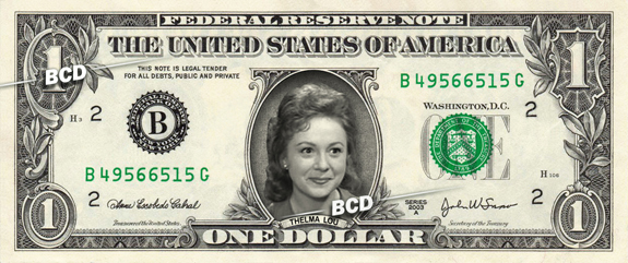 THELMA LOU on a REAL Dollar Bill Andy Griffith Show Cash Money Collectible
