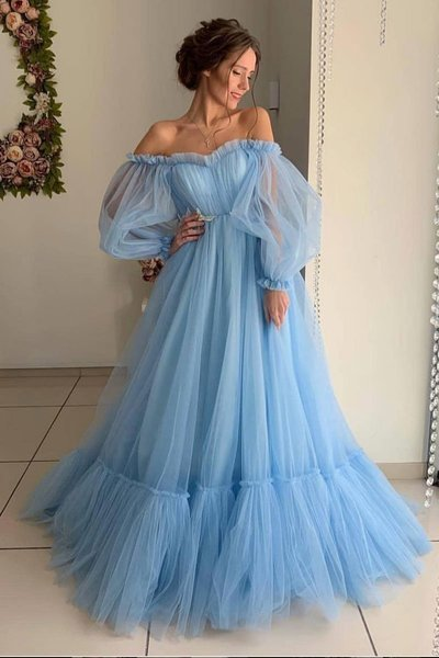 Blue Tulle Off Shoulder Puffy Sleeves Long Prom Dress, Evening Dress  P2154