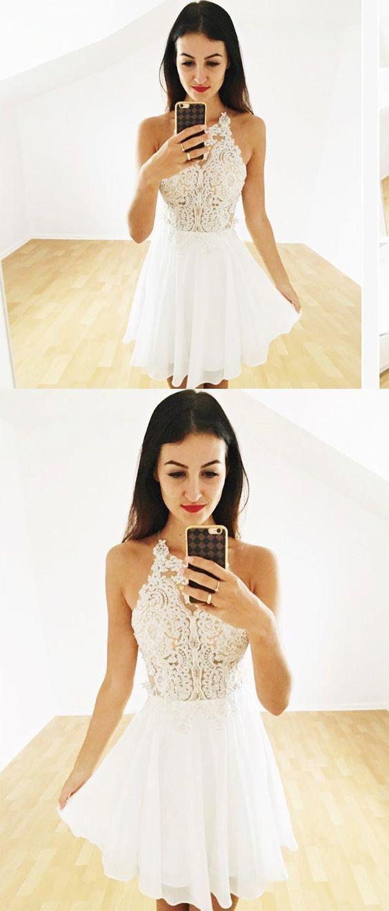 3cb8334ef7 Cute Halter Lace Prom Dress