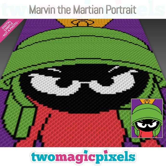 Marvin the Martian Portrait crochet graph (C2C, Mini C2C, SC, HDC, DC, TSS),