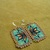 Native American Style Square Stitched Morning Star Earrings in Zuni Turquoise