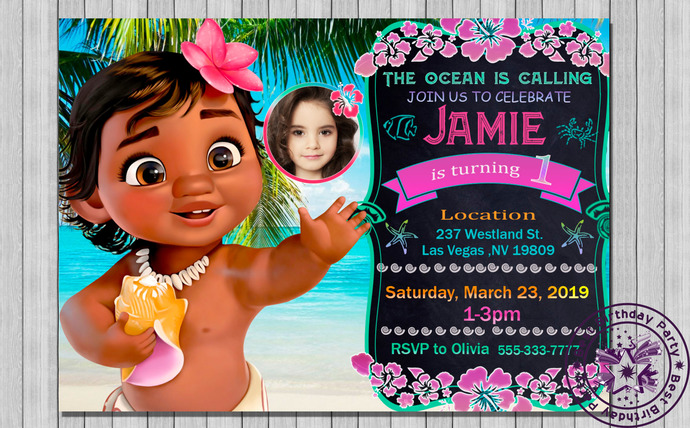 baby moana party invitations, baby moana party theme, baby moana 1 st birthday,