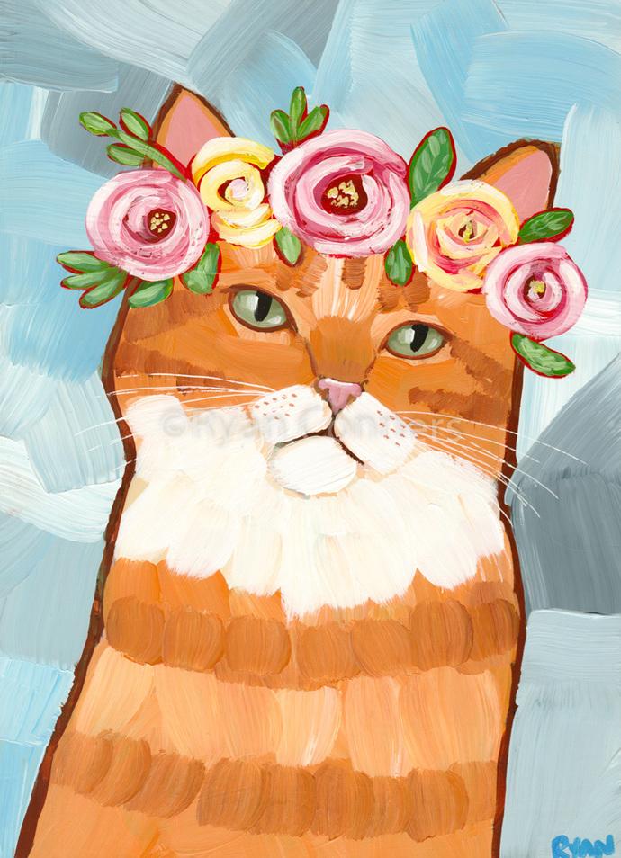 Spring Portrait Ginger Tabby Original Cat Folk Art Painting