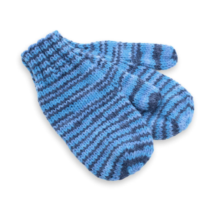 Toddler Mittens, Knit Blue Striped Winter Hand Warmers