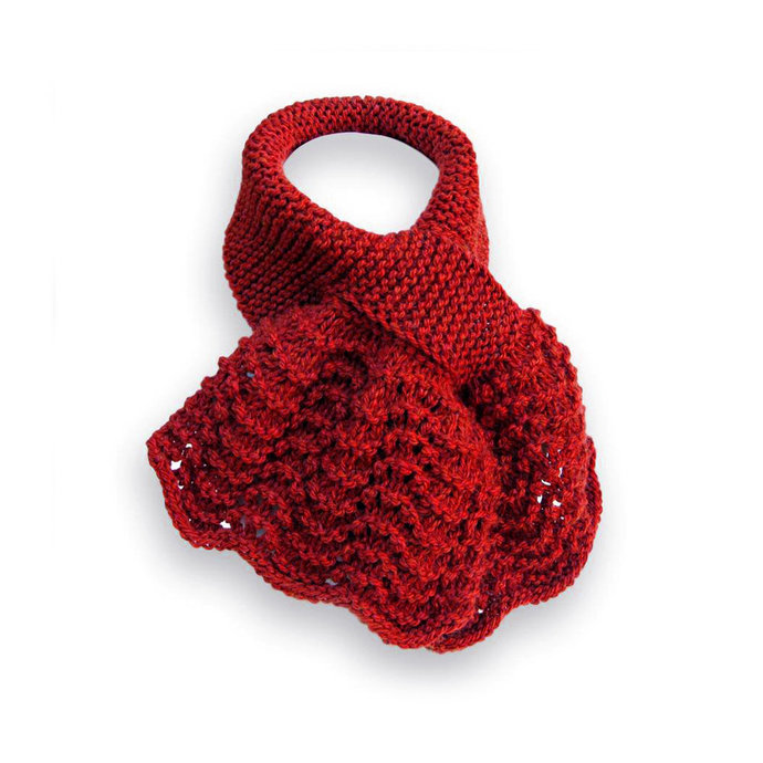 Scarf Knitted Keyhole, Dark Red