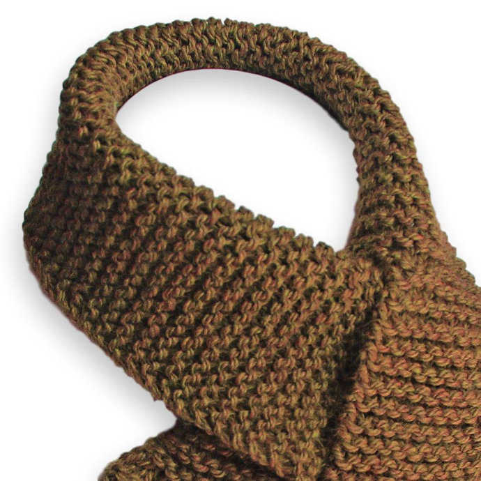 Lacy Knit Scarf, Brown
