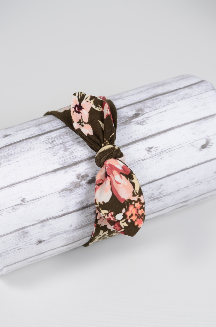 Adult Retro Bow Headband - Blush and Coral Floral on Olive Green