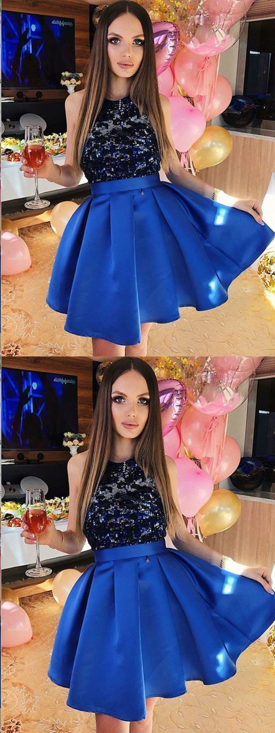 A-Line Sequined Royal Blue Satin Homecoming Dress,Short Prom Dresses