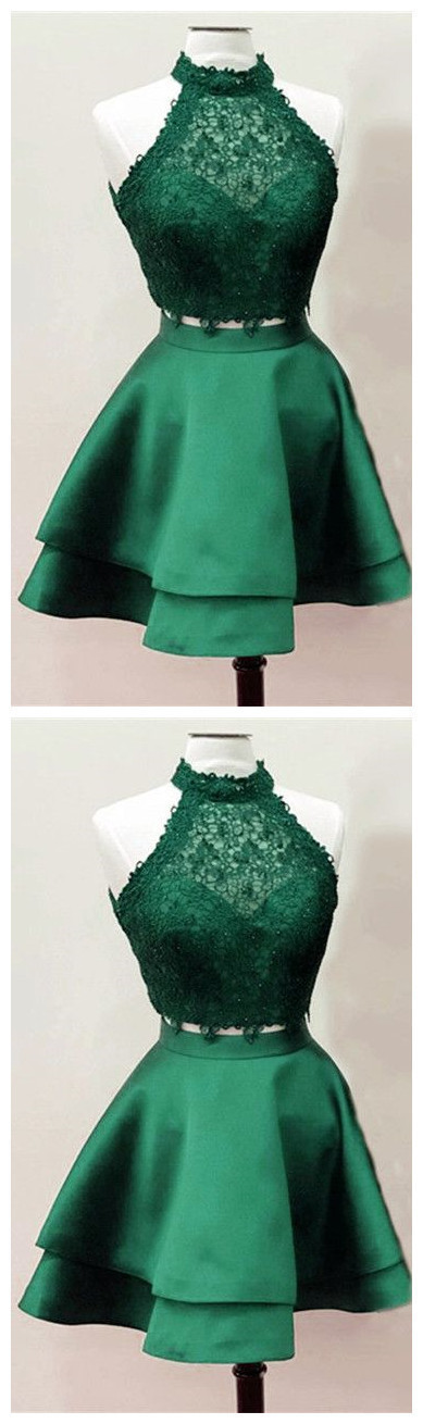 Dark Green Homecoming Dresses,Emerald Green Homecoming Dresses,Two Piece