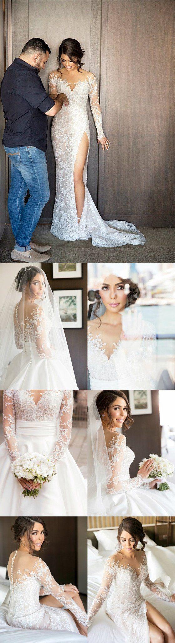 2019 New Full Lace Split Wedding Dresses with Detachable Satin Skirt