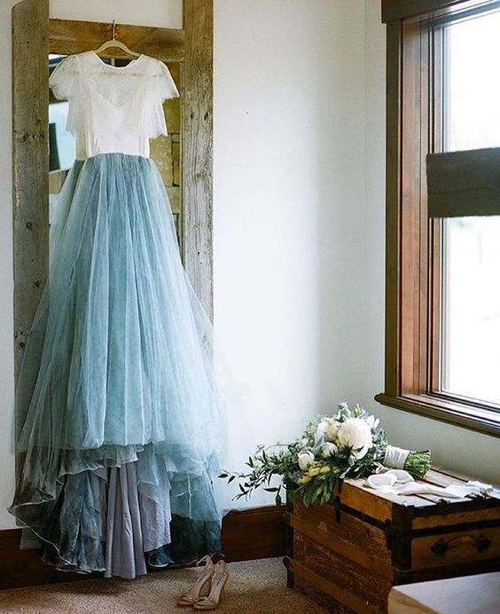2 pieces brides dress, beautiful lace wedding dresses,sexy lace dusty blue