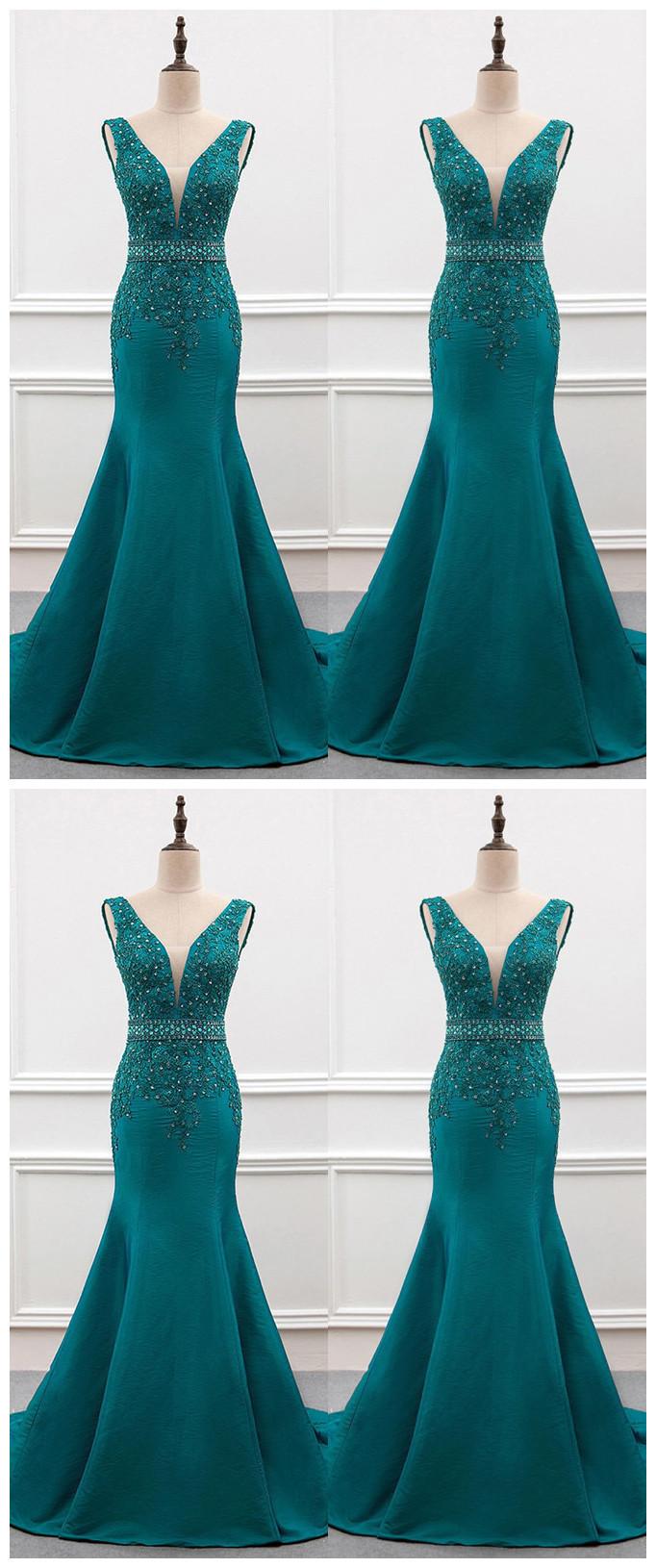 Charming Prom Dress,Appliques Prom Dress,Mermaid Dress,Satin Prom Dress