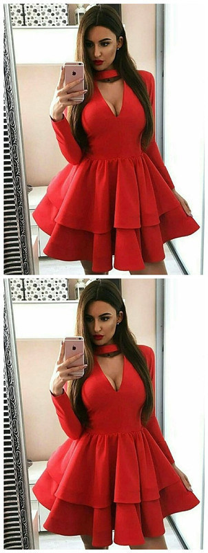 A-Line Long Sleeve Red Homecoming Dress with Ruffles