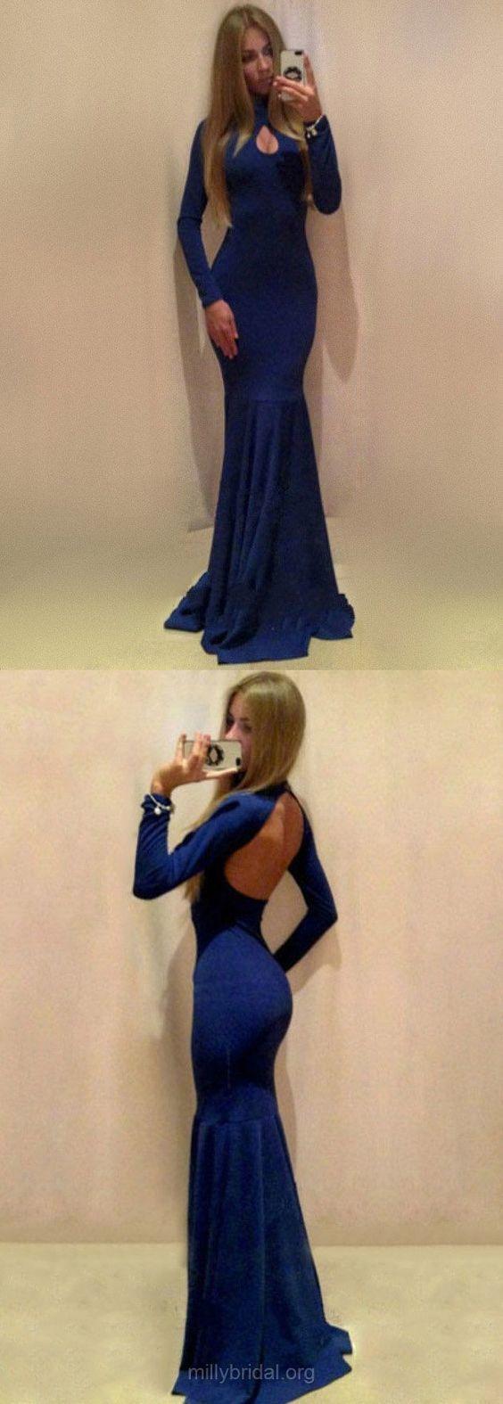 Blue Prom Dresses, Long Prom Dresses, Long Sleeve Prom Dresses For Teens