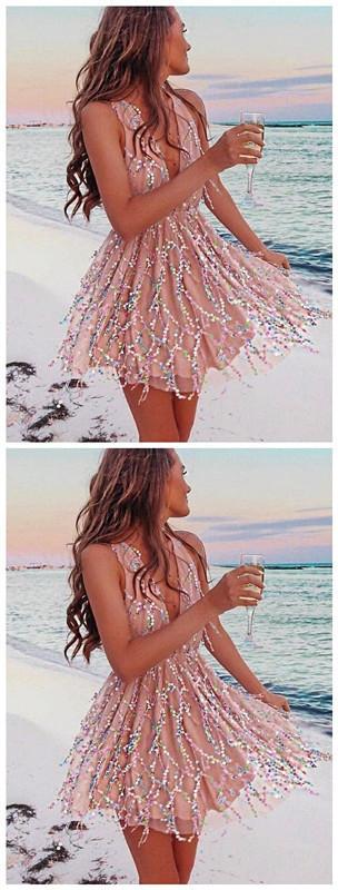 A-Line Deep V-Neck Sleeveless Blush Short Homecoming Dress with Sequins